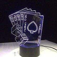 3D Night Lamp Small Dice Poker Playing Card