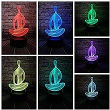 3D Night Light 3D Yoga Lamp Meditation USB Night