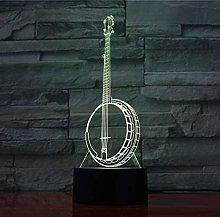 3D Night Light Banjo Modell Musical Instrument 7
