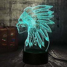 3D Night Light Led Illusion Lamp Native Americans