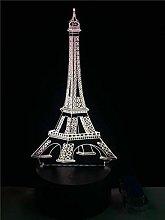 3D Night Light Romantic Paris Eiffel Tower 3D Led