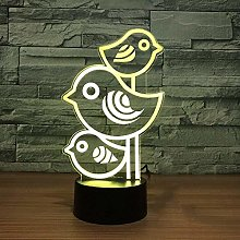 3D Night Light with Remote Control 7 Colors