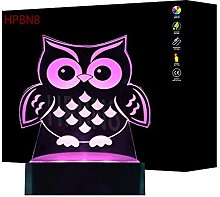 3D Owl Night Light USB Touch Switch Decor Table
