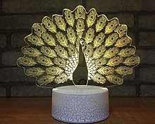 3D Peacock Led Night Light 7Color Change LED Table