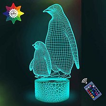 3D Penguin Night Light 16 Colors Changing USB