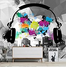 3D Photo Wallpaper for Walls Headset Music Fashion