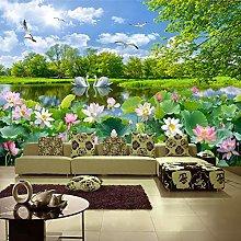 3D Photo Wallpaper Swan Lake Lotus Pond Mural