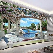 3D Photo Wallpaper Villa Swimming Pool TV