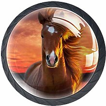 3D Printed Drawer Knobs Pull Sunset Brown Horse