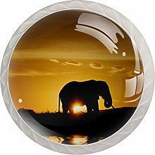 3D Printed Drawer Knobs Pull Sunset Elephant