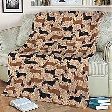 3D Printing Blanket,Black Brown Dog Pattern Warm