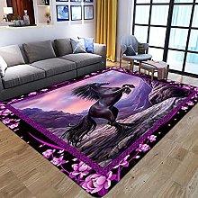 3D Purple Black Flower Animal Horse Printed Foam