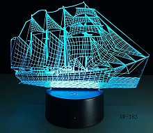 3D Retro Ancient Sailing Sea Boat Ship Night Light