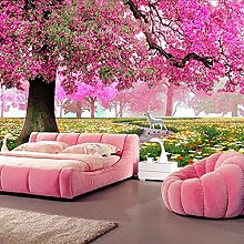 3D Romantic Pink Forest Mural Home Decoration