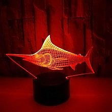 3D Shark Night Light 7 Colors Changing USB Power