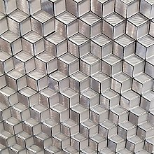 3D Silver Glass Square Mosaic Tiles Sheet for
