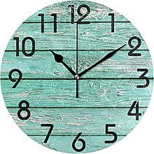 3D Simple Retro Turquoise Wooden Board Round Wall