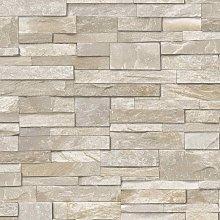 3D Slate Stone Brick Effect Wallpaper Washable