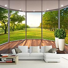3D Stereo French Window Green Grass Photo Mural