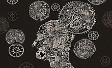 3D Stereo Gear Clock Mural Background wall-150 *
