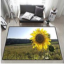 3D Sunflower Print Rectangular Rug 60x90 cm,Unique