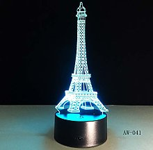 3D Table Lamp 7 Color Eiffel Tower Desk Night