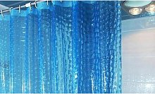 3D Thickened Shower Bathroom Curtain: Blue