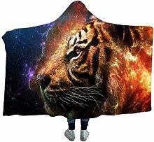 3D Tiger Head Pattern Plush Warm Cloak/Sherpa