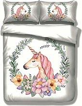 3D Unicorn Bedding Set with Pillowcase, Mysterious