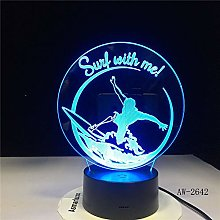 3D USB Gradients Bedroom Night Light Desk Night
