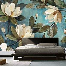 3D Vintage Lotus Teal Wall Mural (SqM)