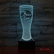 3D Visual Table Lamp 7 Color Change Beer Glass
