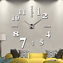 3D Wall Clocks Large, Mute Large Frameless Wall