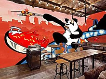 3D Wall Paper Hand-Painted Panda Barbecue Shop
