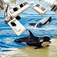 3D Wallpaper Cartoon Sea Wave Dolphins Floor Tiles