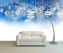 3D Wallpaper Christmas Blue for Walls Murals
