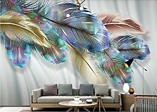 3D Wallpaper Colored Feathers for Walls Murals