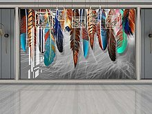 3D Wallpaper Cool Colorful Feathers Beautiful