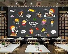 3D Wallpaper for Western Food Shop Blackboard