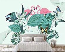 3D Wallpaper Medieval Flamingo Plant Background