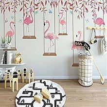 3D Wallpaper Modern Cartoon Flamingo Personality