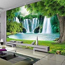 3D Wallpaper Modern Waterfall Landscape Grass