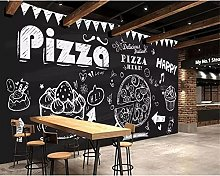 3D Wallpaper Mural Pizza Cake Coffee Cafe