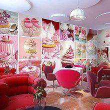 3D Wallpaper Mural Sweet and Cute Cartoon Cake