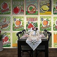 3D Wallpaper Mural Vintage Wooden Fruit