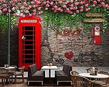 3D Wallpaper Murals Red Phone Booth