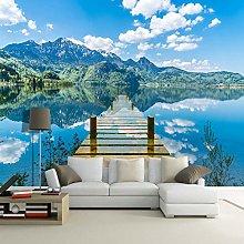 3D Wallpaper Nature Scenery Blue Sky Bridge Lake