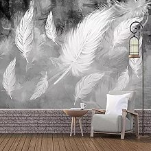 3D Wallpaper Simple White Feather Photo Wall