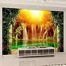 3D Wallpaper Waterfall Forest Natural Scenery