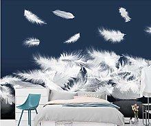 3D Wallpaper White Feathers for Walls Murals